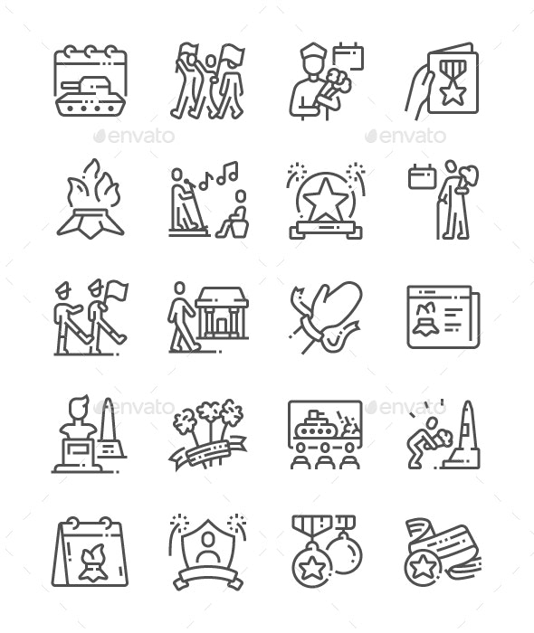 Victory Day Line Icons - Miscellaneous Characters