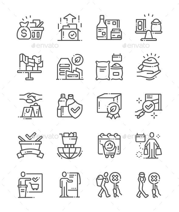 World Fair Trade Day Line Icons - Miscellaneous Characters