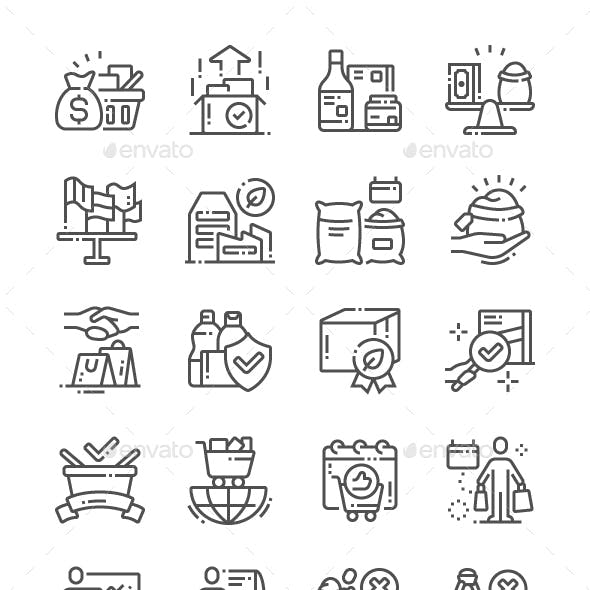World Fair Trade Day Line Icons