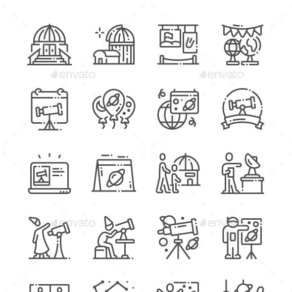 Astronomy Day Line Icons