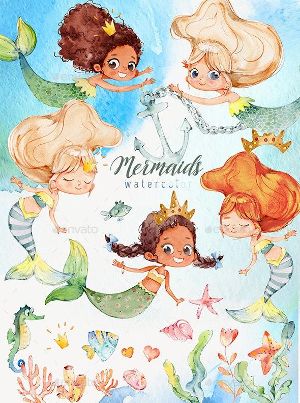Watercolor Mermaids PNG - Illustrations Graphics