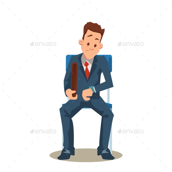 Man in Suit Sit on Chair Waits for Job Interview - People Characters