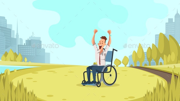 Happy Disabled Worker Cheer in Green City Park - People Characters