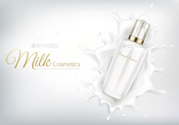 Vector Cosmetic Banner with White Bottle in Milk - Man-made Objects Objects