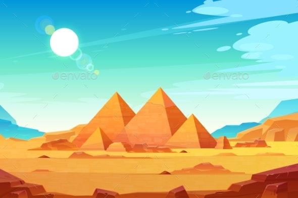 Egyptian Pyramids Landscape Cartoon Vector - Landscapes Nature