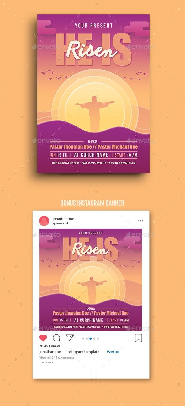He Is Risen Flyer Template - Church Flyers