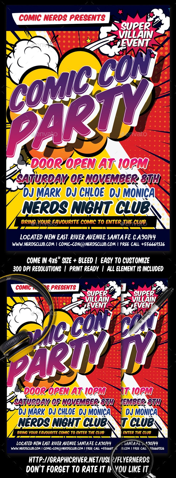 Comic Con Party Flyer - Clubs & Parties Events