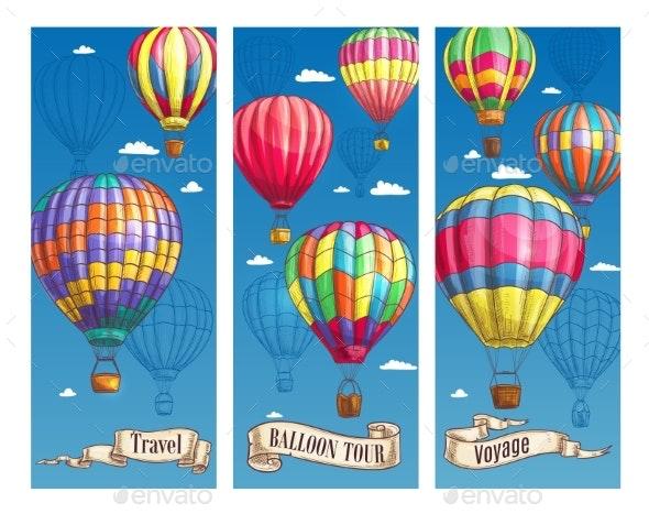 Hot Air Balloon Sketch Banner for Travel Design - Travel Conceptual