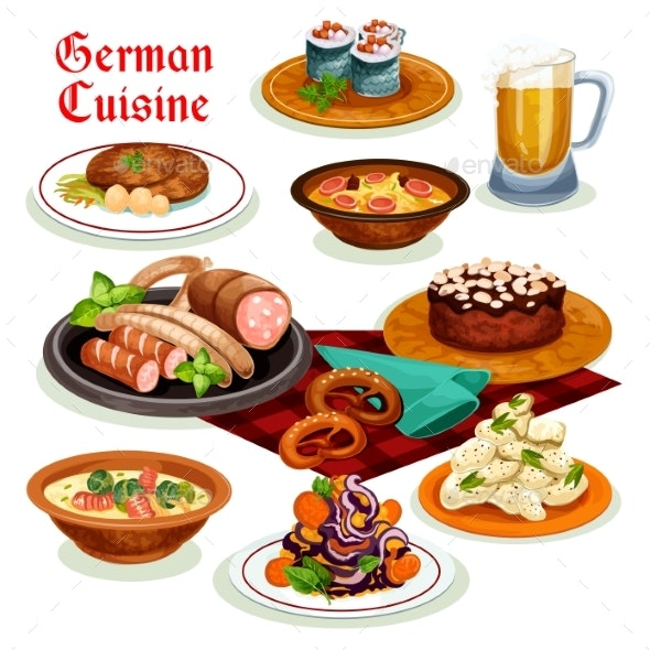 German Cuisine Dinner with Beer and Sausage Icon - Food Objects