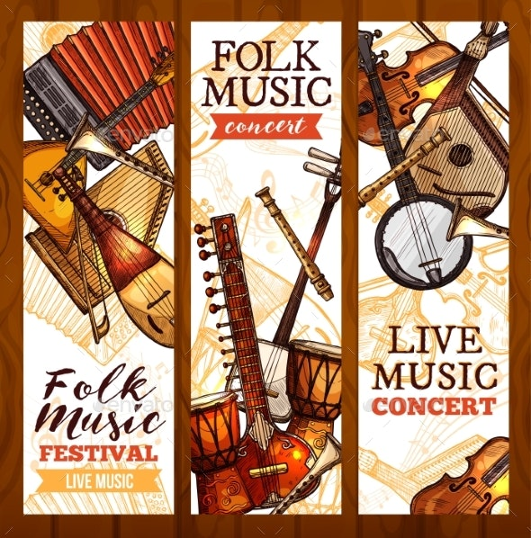 Folk Music Banner with Ethnic Musical Instrument - Objects Vectors