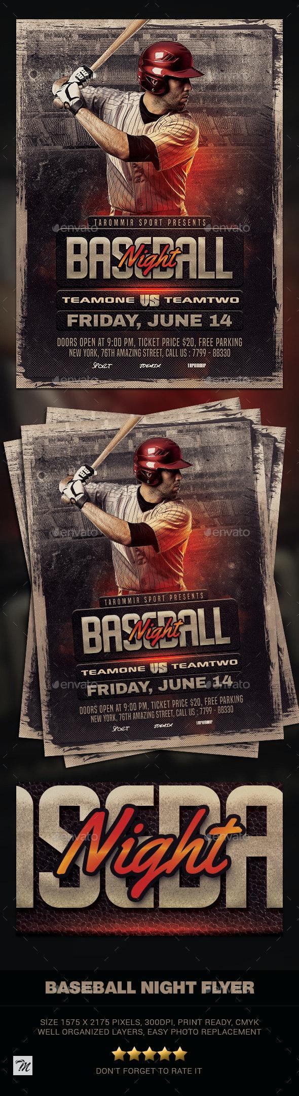 Baseball Night Flyer - Sports Events