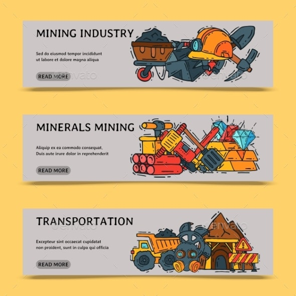 Mining Industry Set of Banners Vector Illustration - Industries Business