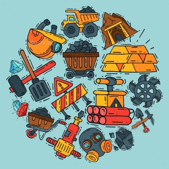 Mining Industry Round Pattern Vector Illustration - Industries Business