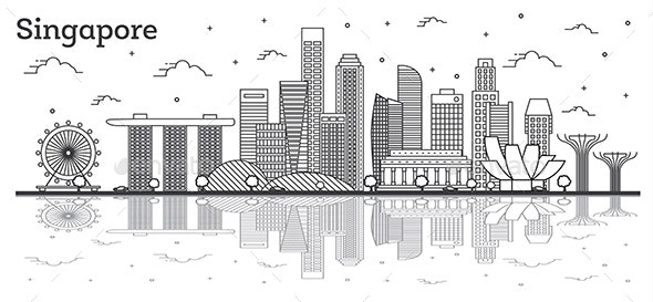 Outline Singapore City Skyline - Buildings Objects