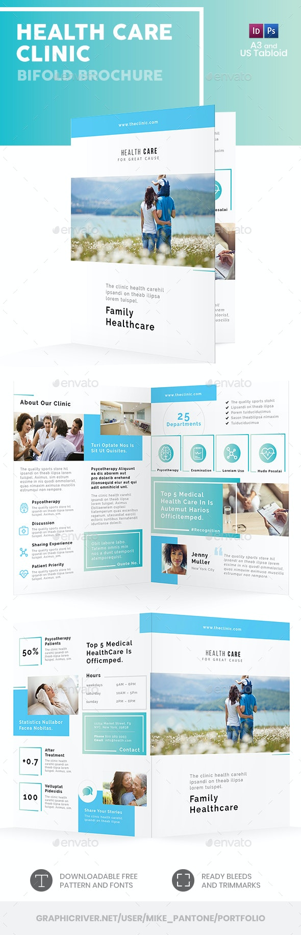 Health Care Clinic Bifold / Halffold Brochure - Informational Brochures