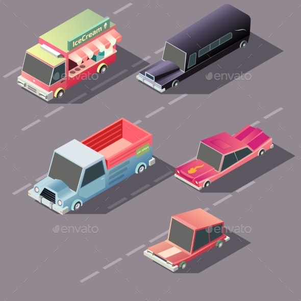 Retro Cars Moving on Highway Isometric Vector - Miscellaneous Vectors