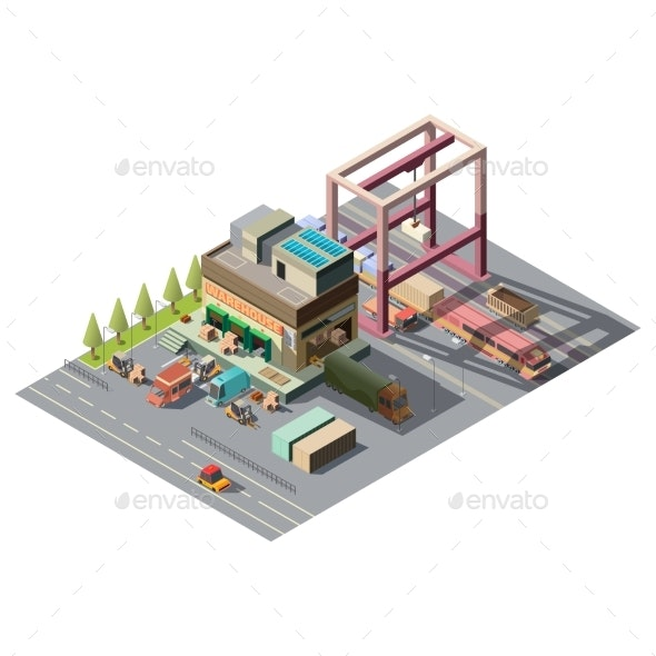Warehouse with Cargo Cars Isometric Vector - Buildings Objects