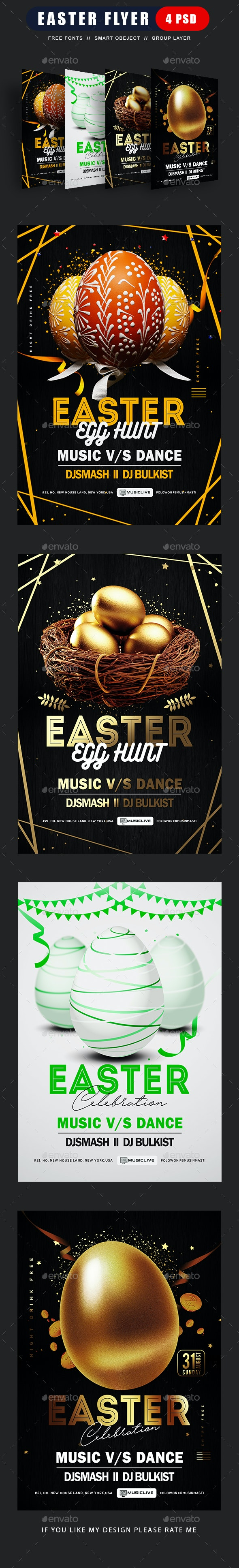 Easter Egg Hunt Event Flyer Bundle - Clubs & Parties Events