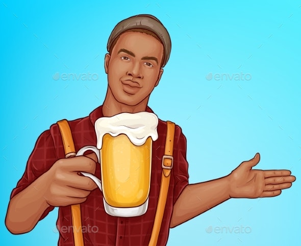 Beer Pub Cartoon Vector Advertising Poster - People Characters