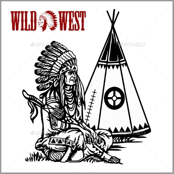Poster in Wild West Style Indian Tent or Wigwam - People Characters