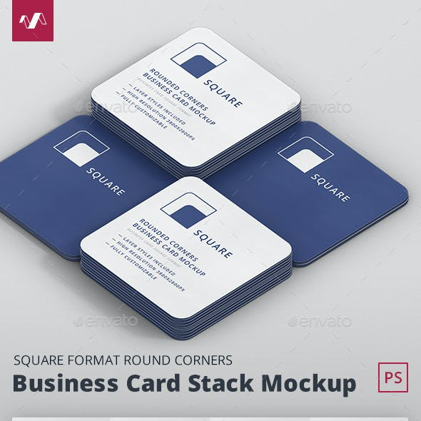 Business Card Mockup Stack Square Round Corners