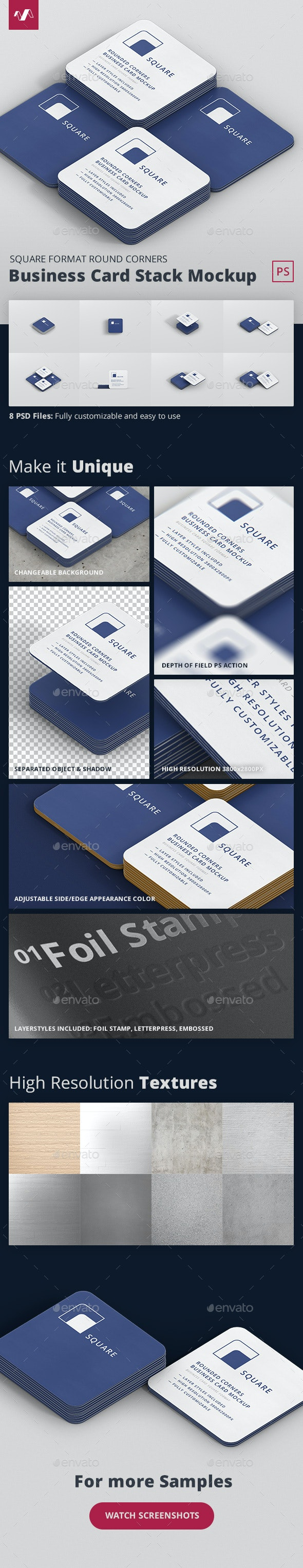 Business Card Mockup Stack Square Round Corners - Business Cards Print