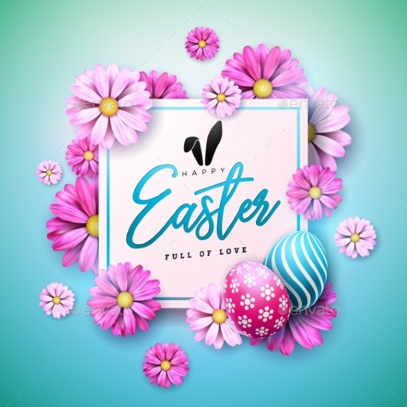 Happy Easter Holiday Design with Painted Egg and - Miscellaneous Seasons/Holidays