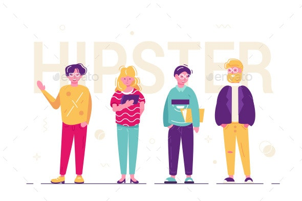 Hipster People Standing Together - People Characters