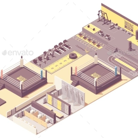Vector Isometric Boxing Gym Interior