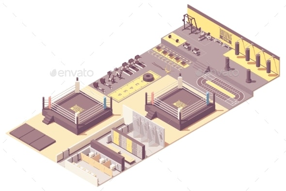 Vector Isometric Boxing Gym Interior - Buildings Objects
