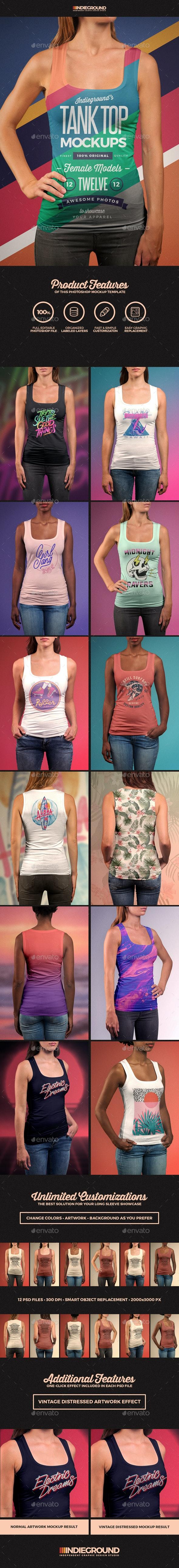 Women Tank Top Mockups - T-shirts Apparel
