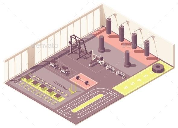 Vector Isometric Crossfit Gym Interior - Sports/Activity Conceptual