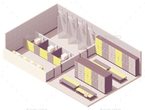 Vector Isometric Locker Room - Buildings Objects