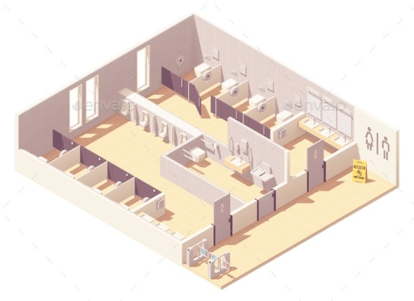 Vector Isometric Public Pay Toilet - Buildings Objects