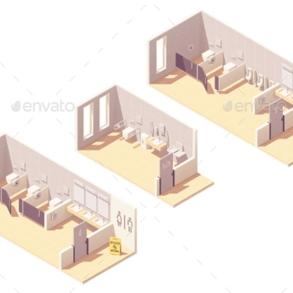 Vector Isometric Public Pay Toilet Rooms