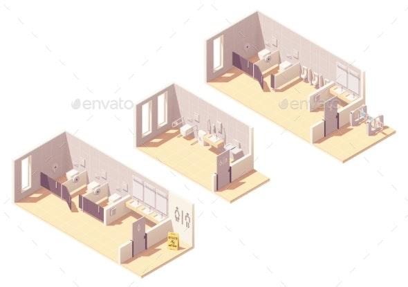 Vector Isometric Public Pay Toilet Rooms - Buildings Objects
