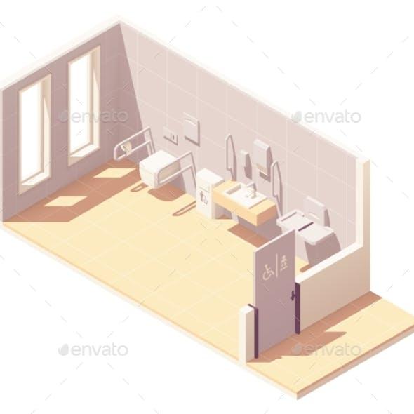 Vector Isometric Public Accessible Toilet