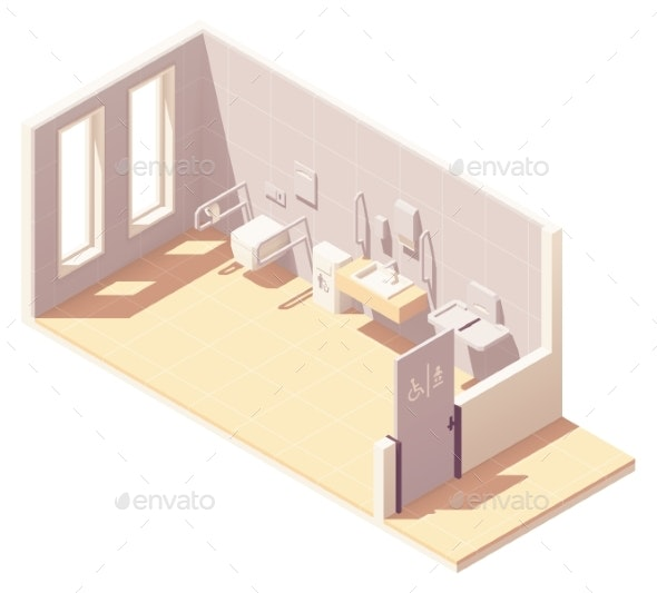 Vector Isometric Public Accessible Toilet - Buildings Objects