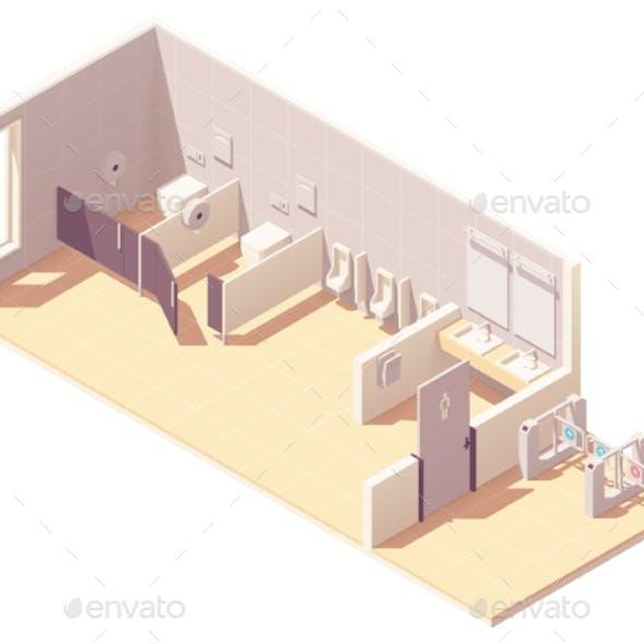 Vector Isometric Public Male Toilet Room