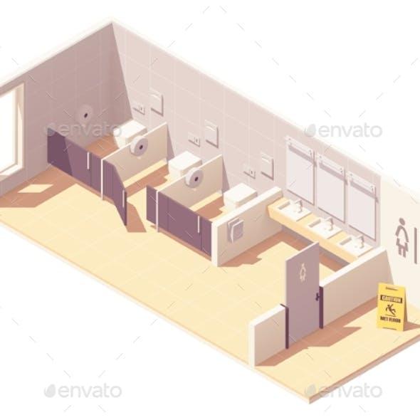 Vector Isometric Public Female Toilet Room