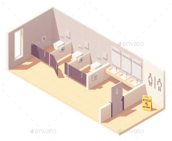 Vector Isometric Public Female Toilet Room - Buildings Objects