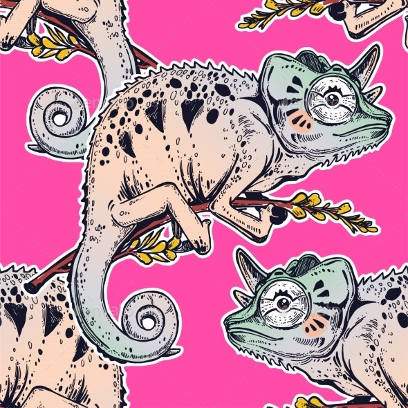Chameleon Lizard Seamless Pattern. - Animals Characters