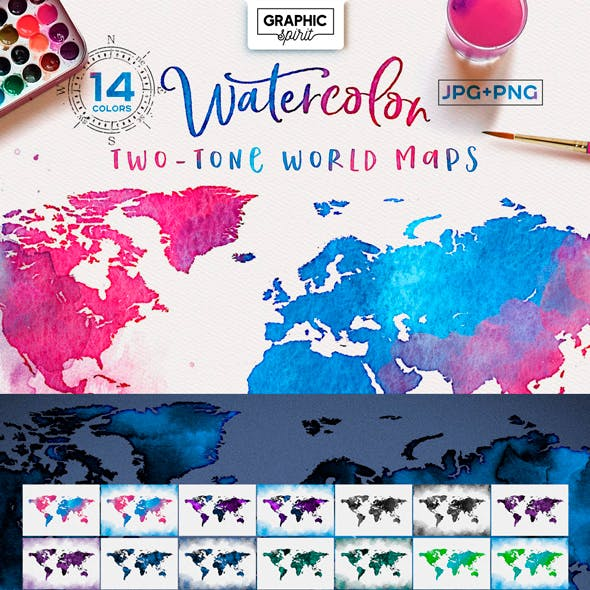 Watercolor World Maps-Two-Tone