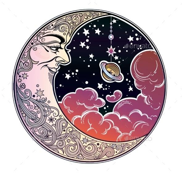 Portrait of a Beautiful Ornate Crescent Moon Face - Nature Conceptual