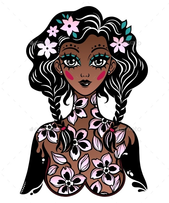 Beautiful Girl with Body of Flowers As a Spring or - People Characters