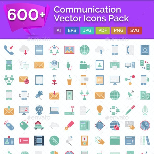 600+ Communication Vector Icons Pack