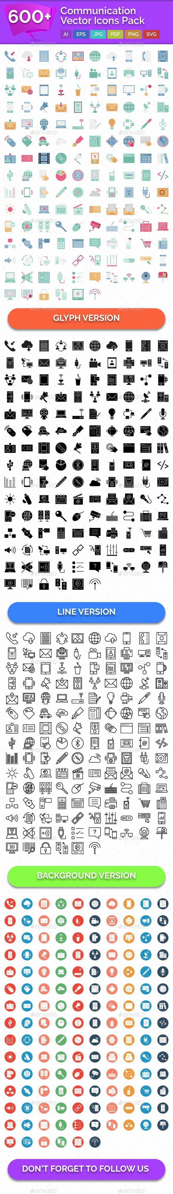 600+ Communication Vector Icons Pack - Icons