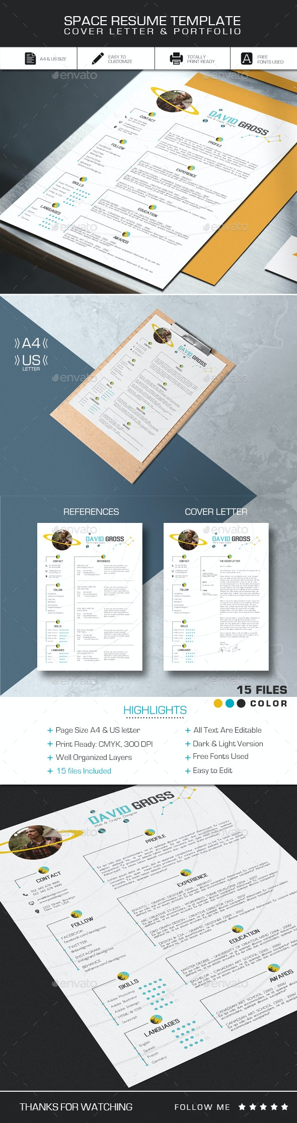 Space Resume CV Template - Resumes Stationery