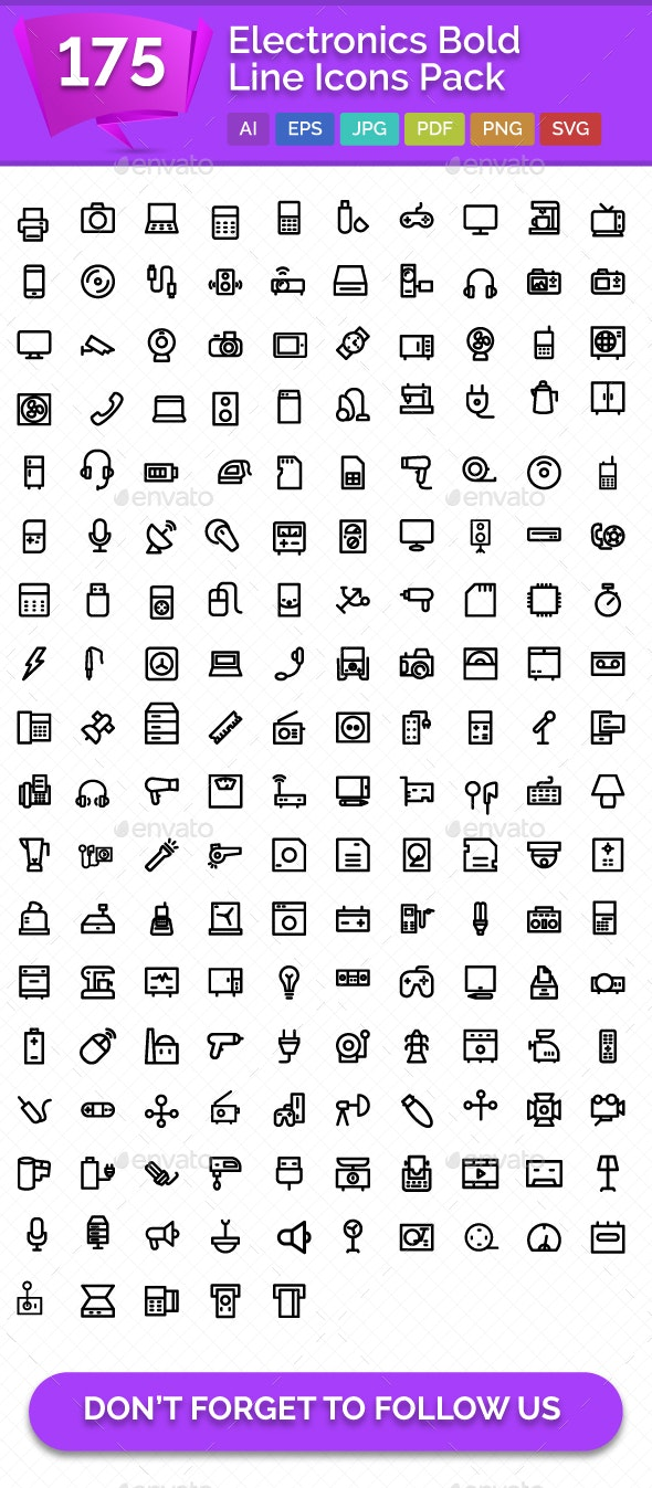 175 Electronics Bold Line Icons Pack - Icons