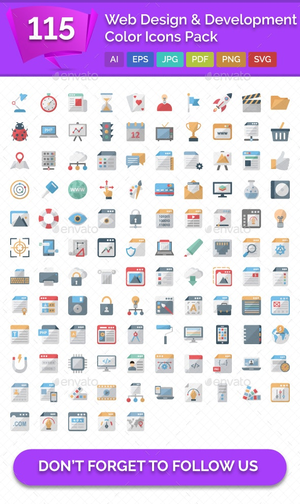 115 Web Design and Development Color Icons - Icons